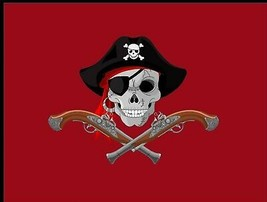 Flag 3X5 RED Color Cool Pirate Jolly Roger Buccaneer Theme Party Banner - $9.88