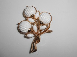 Trifari Thermoset Brooch Pin 1950's White Ribbed Melon - $19.00