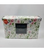 Laura Ashley Spring Bloom Pink Violet Florals Shabby Chic 4 Pc King Sheet Set 1B - $85.45