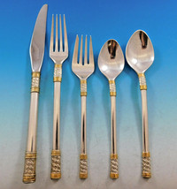 Aegean Weave Gold by Wallace Sterling Silver Flatware Set 12 Service 60 pieces  - $3,595.00