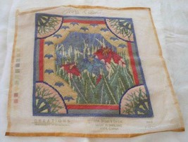 "Vintage Needlepoint Tapestry IRIS Briggs Co Pink Blue Wool Complete 14"" - $35.52"