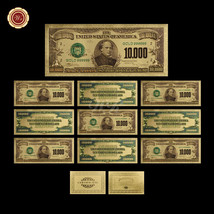 WR Craft $10000 Dollar Banknotes 10pcs Colored Gold U.S Uncirculated Bill Note - $38.48