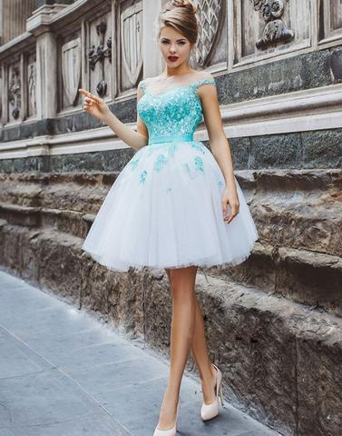 2018 Cute round neck tulle lace applique short prom dress, homecoming dress,PD19