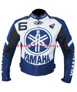 YAMAHA 6 BLUE MOTORCYCLE MOTORBIKE BIKERS ARMOURED COWHIDE LEATHER JACKET - $194.99