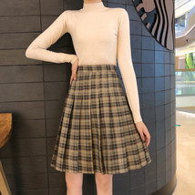 Knee Length Pleated Plaid Skirt Women Plus Size Navy Black Pleated PLAID SKIRTS image 4