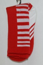 Unbranded Red White Adult Crew Socks Right Left Marked Bottom with R L image 2