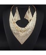 MANILAI Indian Jewelry Set Chic Style Shining Metal Slice Bib Choker Nec... - $13.59