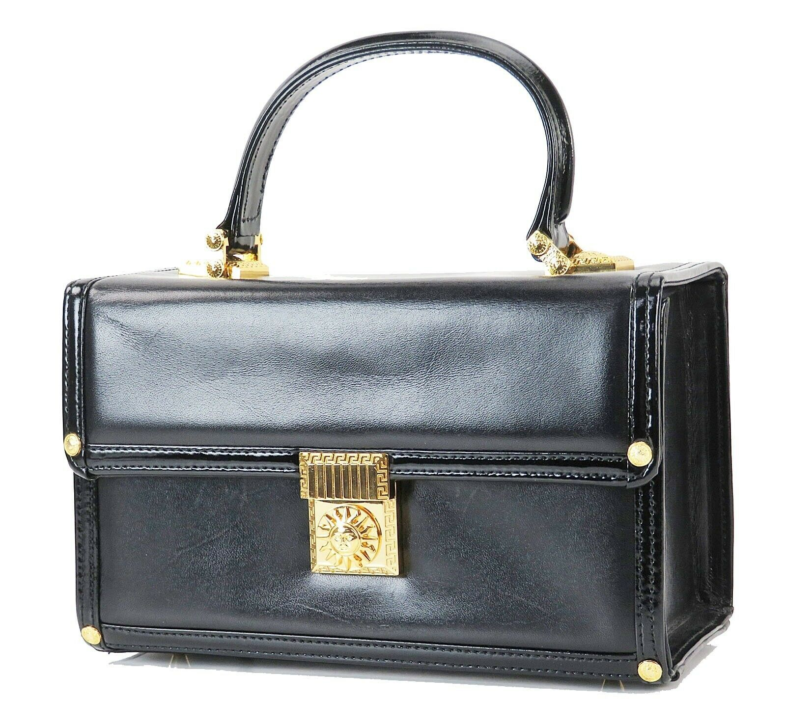 Primary image for Auth GIANNI VERSACE Sun Logo Black Leather Vanity Cosmetics Box Bag #30080