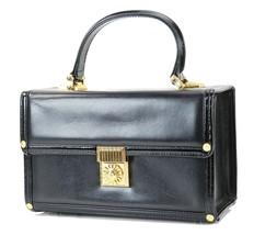 Auth GIANNI VERSACE Sun Logo Black Leather Vanity Cosmetics Box Bag #30080 - $459.00