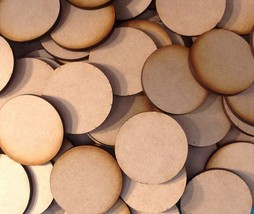 40mm x10 Round MDF Wood Bases Laser Cut Crafts FAST SHIPPING US SELLER - $2.96