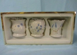 LENOX SET OF 3 FLORAL GOLD TRIM VOTIVE CANDLE SET NEW IN BOX NEVER USED - $14.99