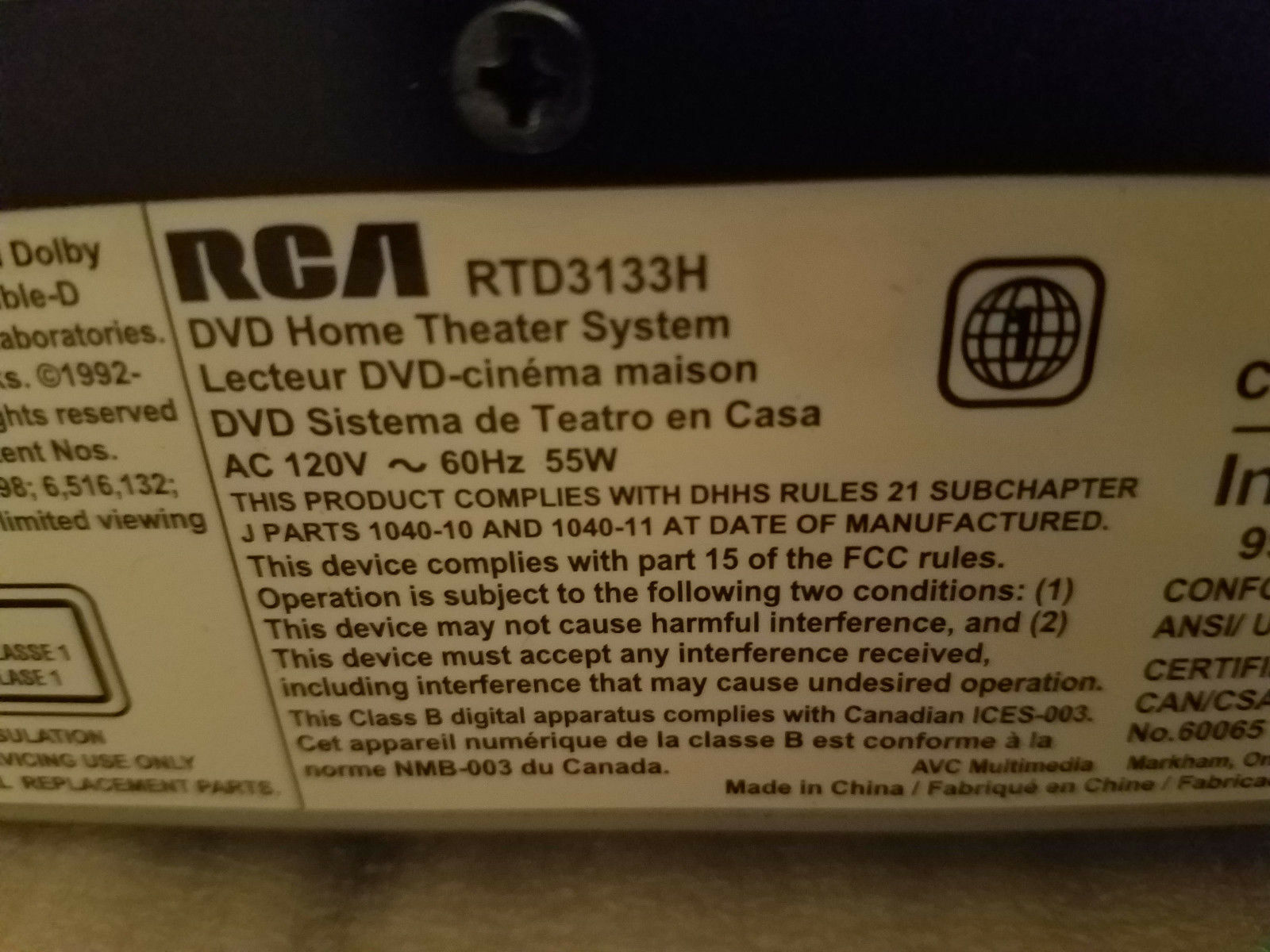 ⭐️RCA DVD Player 5.1Ch HDMI 1080p Aux DTS Home Theater Receiver Amp RTD3133H ⭐️