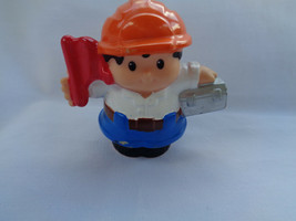 2010 Fisher Price Little People Construction Worker Hard Hat Flag - as is - $1.49