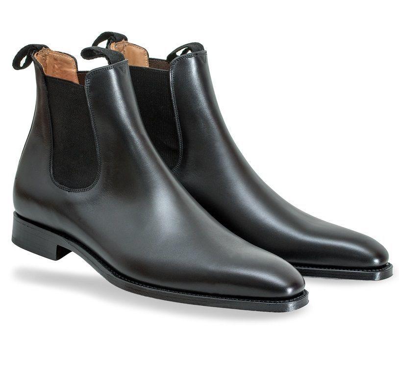 Black Chelsea Shoes Men Jumper Slip On Matching Color Sole Genuine Leather Boots