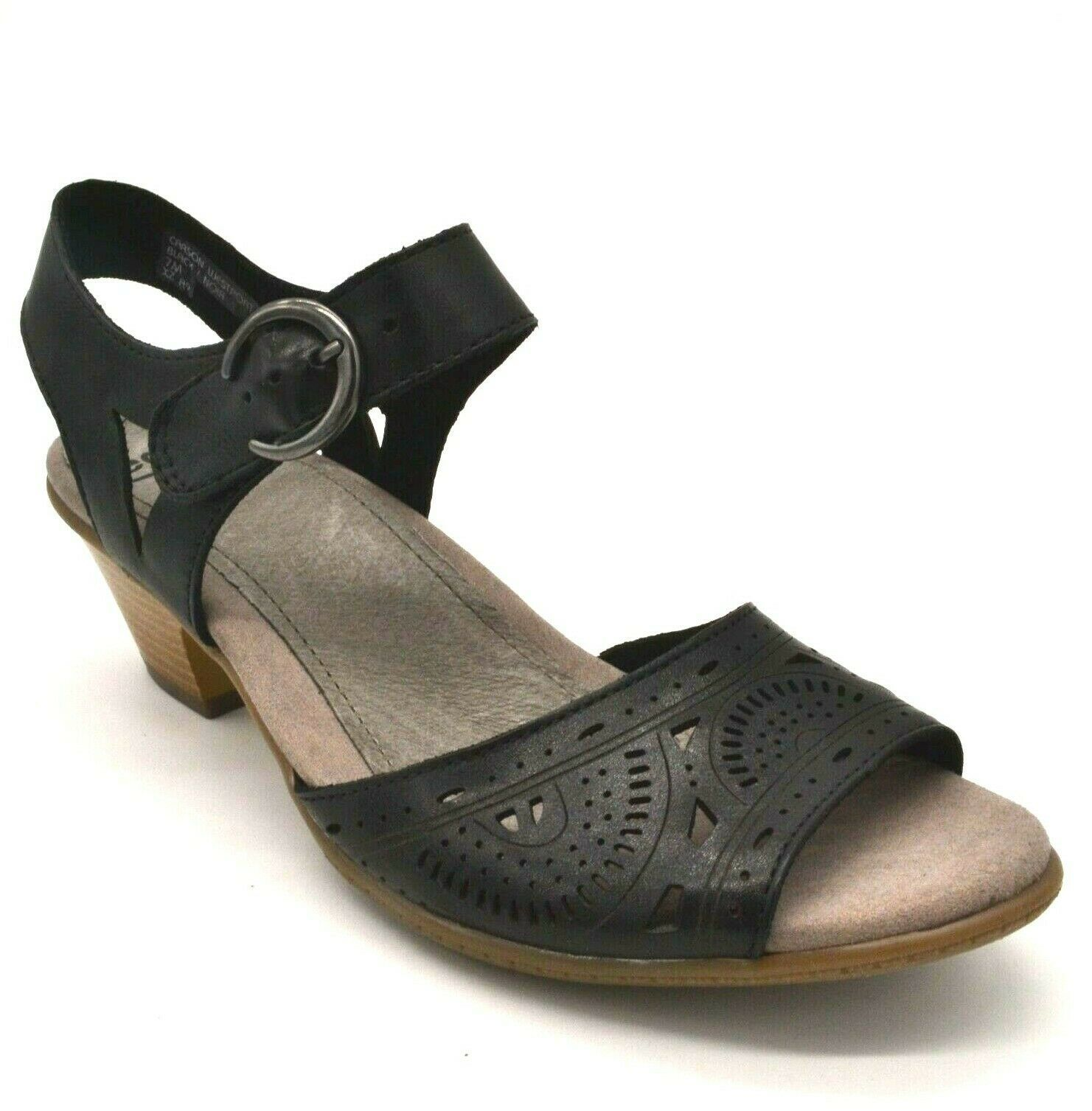 Earth Women Carson Westport Leather Wedge Slingback Sandals Black Size 7.5W NEW - $63.35