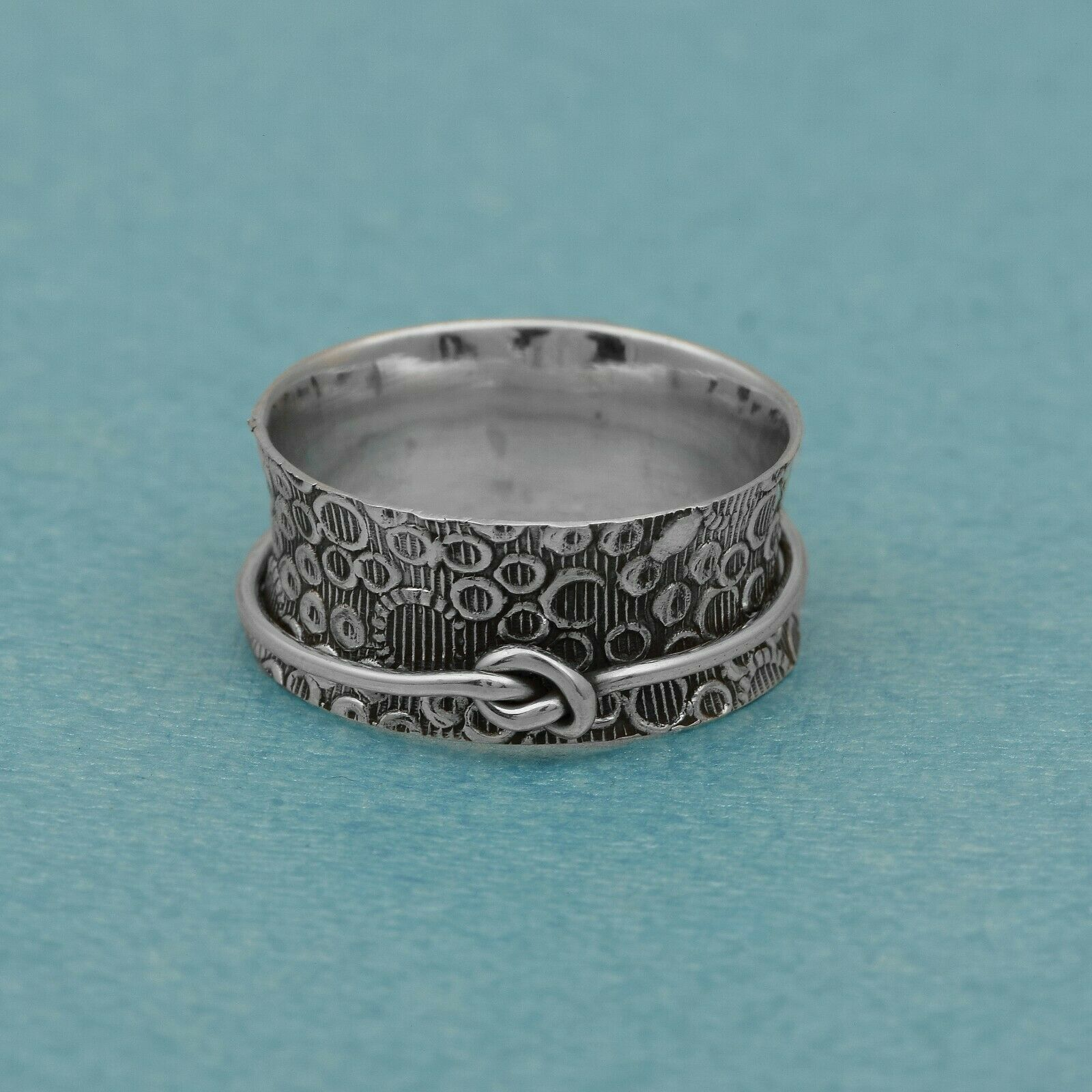 Spinner Ring! 925 Sterling Silver Love me Knot Band Meditation Anxiety Ring