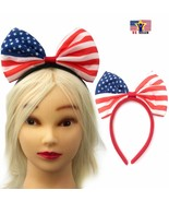 Women American USA Flag Headband Hairband Bow Hair Head Ribbon Hoop 4th ... - $6.59