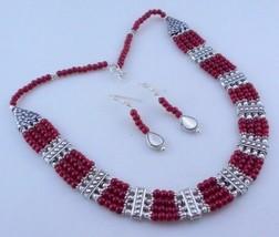Ruby Beaded Handmade Necklace Jewelry 70 Gr. oj-343-14 - $7.14