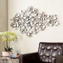 Mirrored Metal Wall Sculpture Modern Art Geometric Decoration Home Silve... - £188.28 GBP