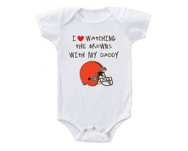 Cleveland  Browns Onesie Shirt I Love Watching With Daddy  - $15.00