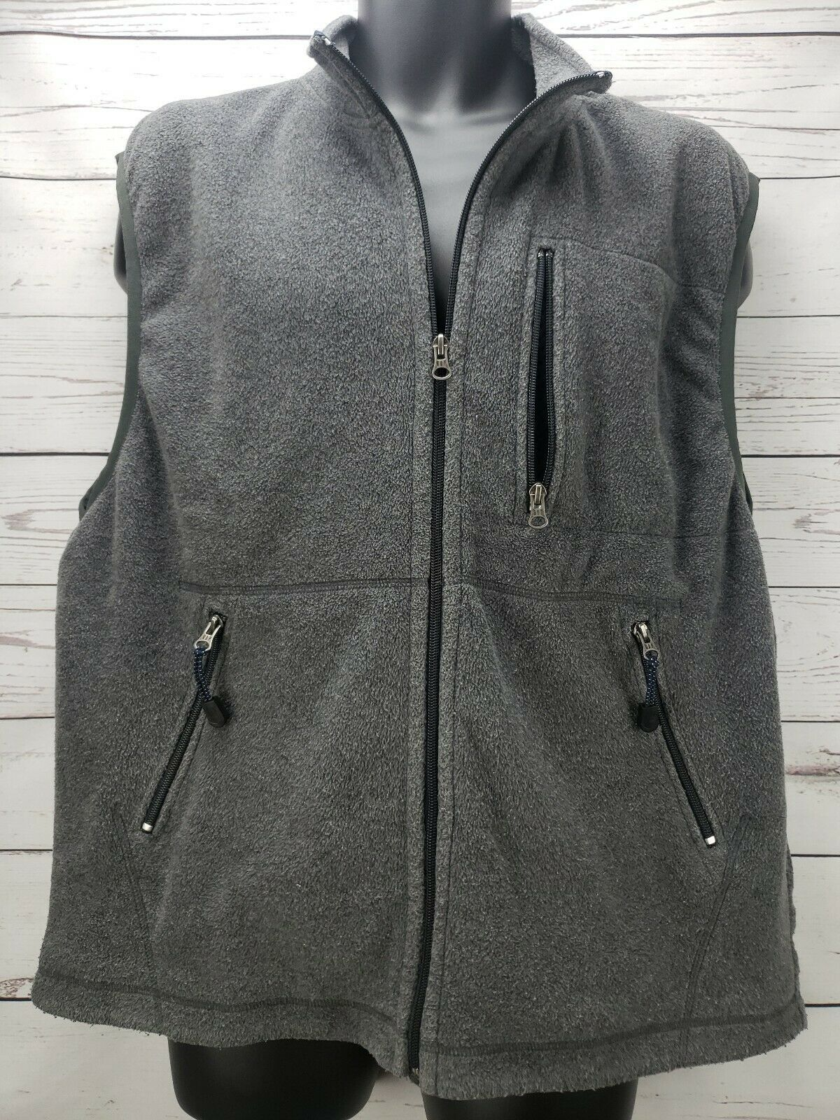 Gap Men's Size XL Full Zip Gray Sleeveless Fleece Vest
