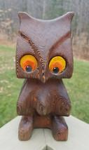 Witco Hand Carved Standing Owl Cedar Felt Eyes 1950s Rare Bird Statute MCM  - $123.70