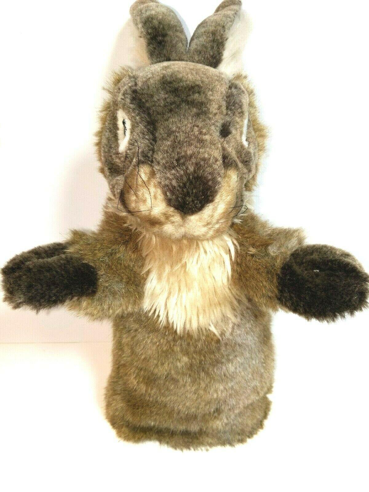 "Folkmanis Rabbit Plush Stuffed Animal Stage Hand Puppet Bunny 20"" Long Ears EUC - $24.69"
