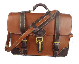 Executive Leather Briefcase & Messenger Shoulder Bag In 1 Amish Handmade In Usa - $949.97