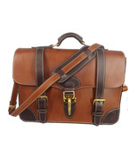 EXECUTIVE LEATHER BRIEFCASE & MESSENGER SHOULDER BAG in 1 Amish Handmade... - $949.97