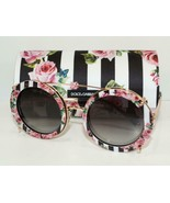NEW DOLCE & GABBANA ROUND ROSES CLIP ON SUNGLASSES DG 2198 1298/8G w/CAS... - $261.79