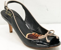 Cole Haan Air Black/Brown Patent Leather Women's Sling Back Heels 6.5 M Sandals - $42.74