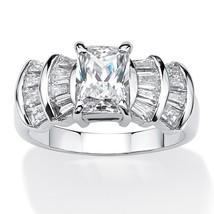 PalmBeach Jewelry 3.10 TCW Emerald-Cut CZ Ring in Platinum over .925 Silver - $49.82