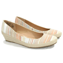 American Eagle Womens Wedge Espadrilles Flats Shoes 8 Striped Ivory Brown Red - $39.55