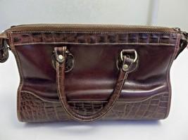 Brahmin Satchel Handbag Purse Brown Croc & Smooth Leather  - $49.49