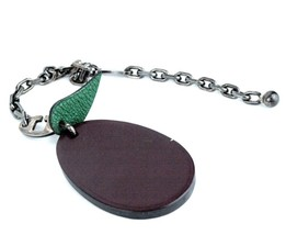Auth Hermes Brown & Green Leather Leaf Design Key Metalic Tone Chain Bag... - $147.51