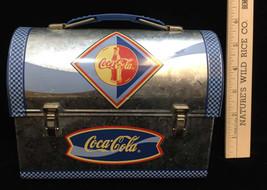"""Coca Cola Coke Mini Lunchbox Tin Container Blue & Galvanized Steel Coke 6"""" - $8.90"""