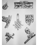 FRANCE Evreux cathedral Details - SUPERB 1843 Antique Print - $18.00