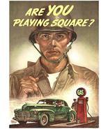 Are You Playing Square - 1944 - World War II - Propaganda Magnet - $11.99