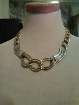 VINTAGE GOLDEN CHAIN LINK CHOKER TYPE NECKLACE W/ SILVERY STATIONS - $20.00