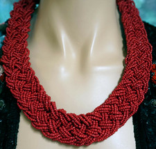 Wide Braided Red Coral Glass Seed Bead Necklace - $19.99