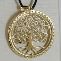 18K YELLOW GOLD TREE OF LIFE PENDANT 25 MM, 1 INCHES, ZIRCONIA, MADE IN ITALY image 4
