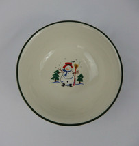 Pfaltzgraff Snow Village Soup Cereal Bowl Christmas Snowman Green Ring - $7.91