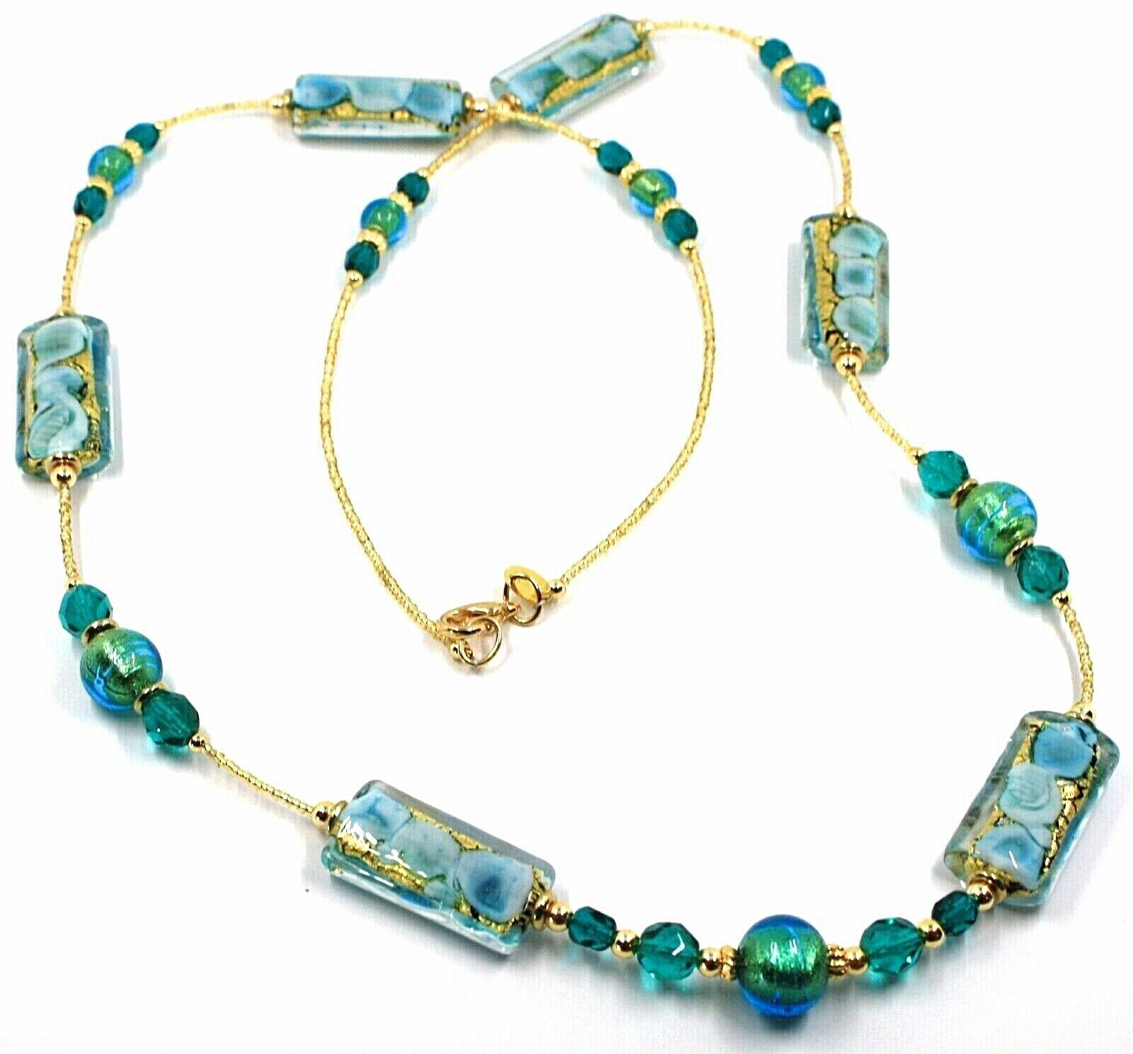 LONG NECKLACE BLUE MURANO GLASS RECTANGLE TUBE, SPHERE, GOLD LEAF, ITALY MADE