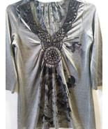 Women's bejewel  blouse Top Gray Black  size Medium - $15.99