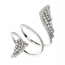 ZirconZ Custom-Cluster Signty CZ Sterling Silver Spiral Leaf Knuckle Ring - $79.99