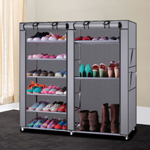 Home Shoe Rack Shelf Storage Closet Organizer Cabinet Portable with Cover - $49.03 CAD