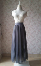 Gray Pleated Long Tulle Skirt Plus Size Pleated Tulle Tutu Skirt High Waisted image 6