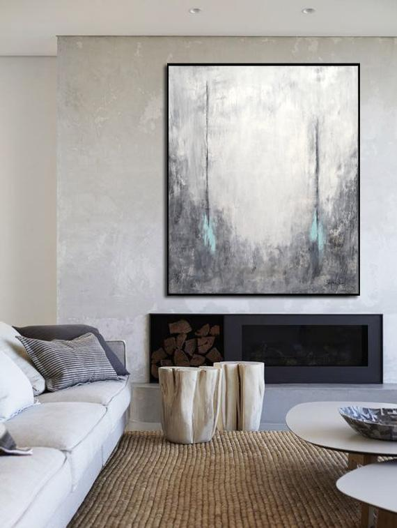 Gray abstract large canvas oil painting art decor 1