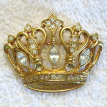 "Kenneth Jay Lane Crown Pin KJL for Avon 1 3/4"" Rhinestone Lapel Brooch VTG 1980s - $49.46"