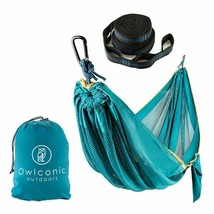 "Owlconic Portable Mesh Hammock 102""x59"" Tree Straps with Carabiners - $17.45"
